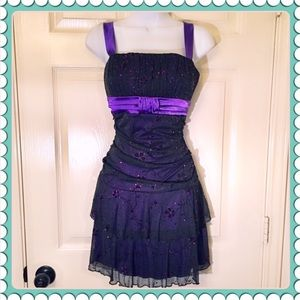 DEB Black and Purple Sparkly Homecoming Dress